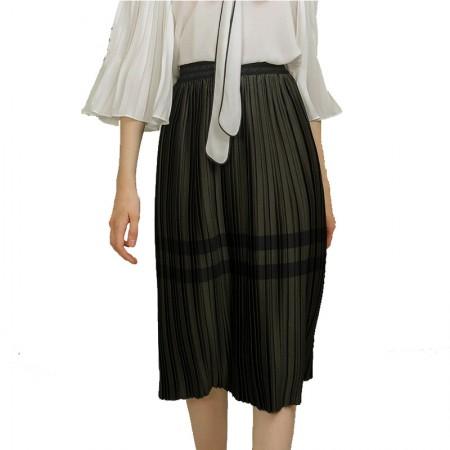莉莉的高腰百褶裙时尚条纹撞色松紧腰半身裙中长款LL8102003·墨绿
