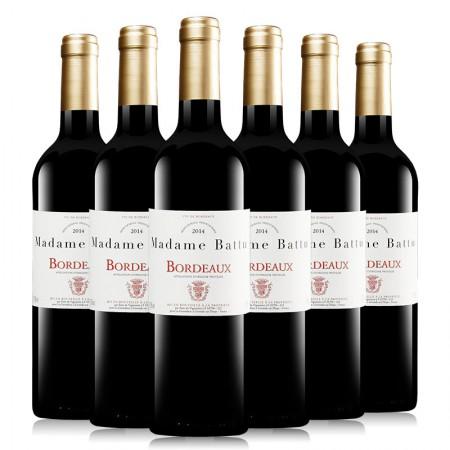 法国波尔多原瓶进口AOC级红酒 巴图太太干红葡萄酒750ml*6 整箱·酒红色