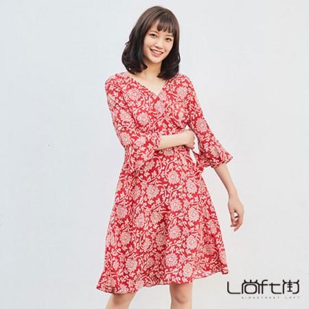 尚街 真丝系带连衣裙·红色