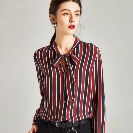 漫丽依 春季100%真丝韩版条纹蝴蝶结女衬衫·红蓝条纹色