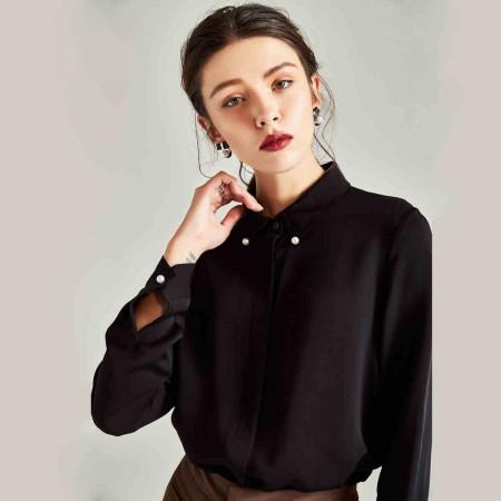 漫丽依 春季100%真丝钉珠时尚长袖女衬衣·黑色
