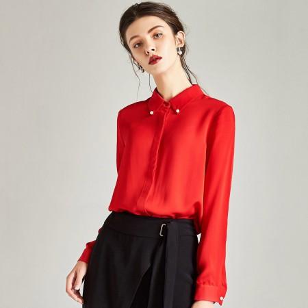 漫丽依 春季100%真丝钉珠时尚长袖女衬衣·红色