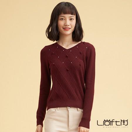 尚街 V领时尚套头羊绒衫·酒红色