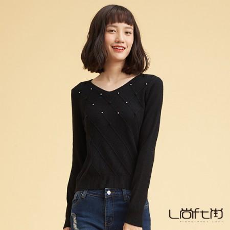 尚街 V领时尚套头羊绒衫·黑色
