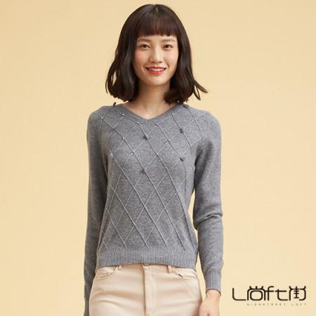 尚街 V领时尚套头羊绒衫·灰色