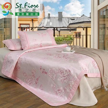 【富安娜出品】圣之花 绚烂 冰丝席凉席三件套·粉红色