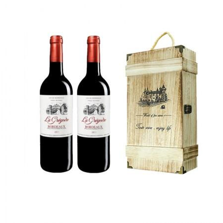 法国进口红酒 格格波尔多干红葡萄酒750ml*2·酒红色