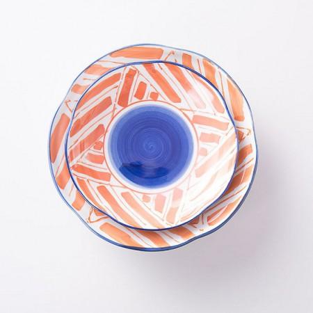 宝优妮 创意复古水墨风陶瓷菜盘子2件组·红箭头