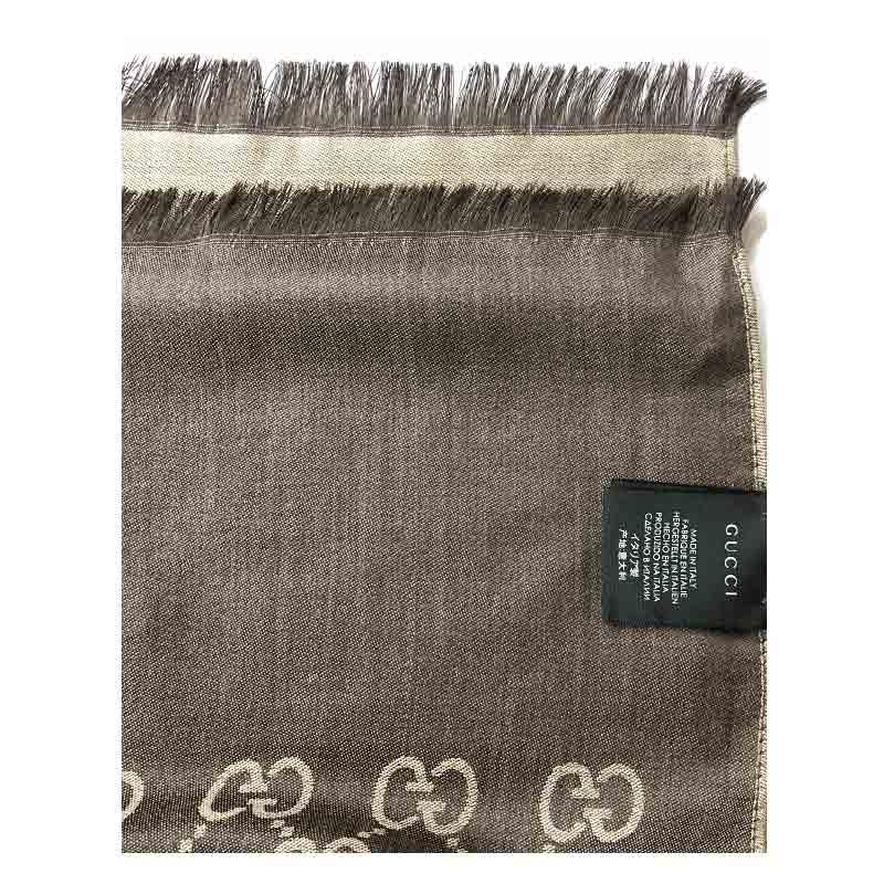 GUCCI新款经典双G超长羊毛围巾·咖啡色