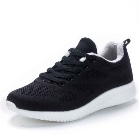 衣客运动棉女鞋冬季女士休闲百搭棉鞋保暖女鞋·121622210023-1黑色