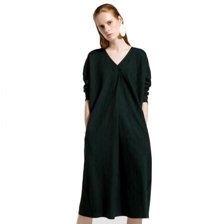 今升 简约V领宽松长袖羊毛针织衫打底裙·墨绿色