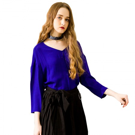 今升 时尚V领九分袖褶皱真丝女衬衫·宝蓝色
