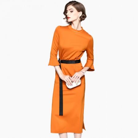 丁摩 纯色七分喇叭袖中长款半开叉一步连衣裙50301·桔色