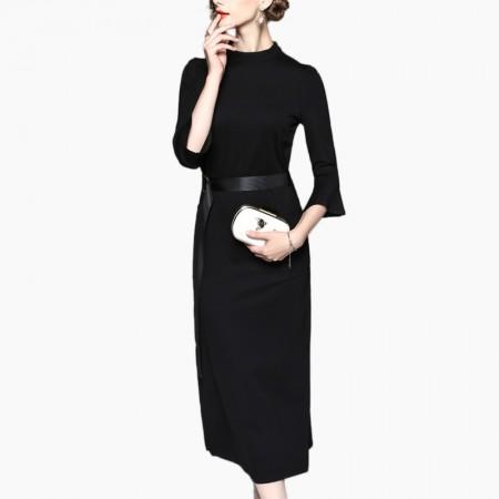 丁摩 纯色七分喇叭袖中长款半开叉一步连衣裙50301·黑色