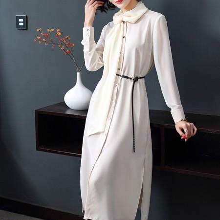 妖歌 时尚气质宽松显瘦雪纺连衣裙女长袖中长款C40502·白色