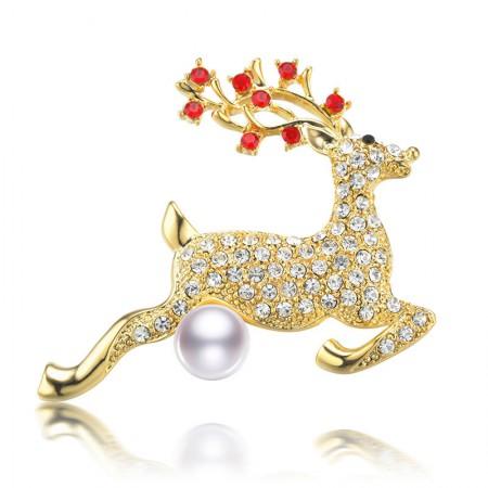 水年华金色麋鹿时尚珍珠胸针·白色