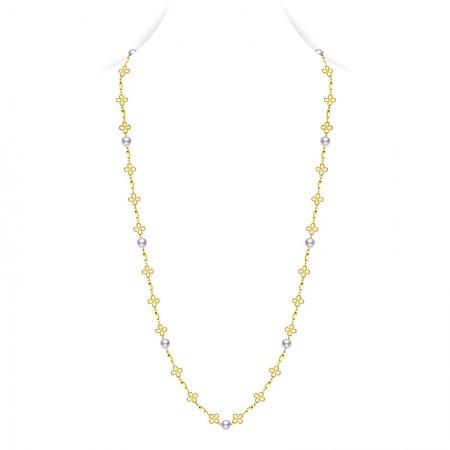水年华四叶草长款珍珠项链·白色