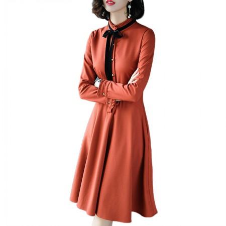 妖歌 气质淑女蝴蝶结长袖修身中长款连衣裙A013·焦糖色