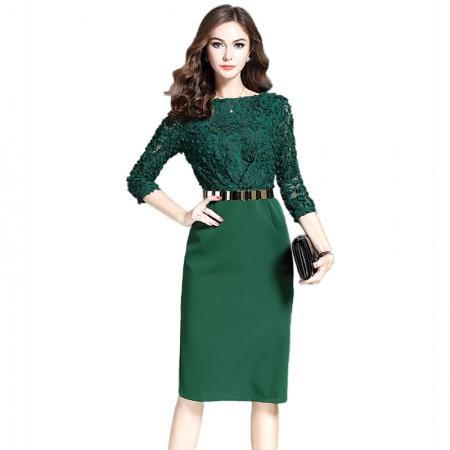 妖歌 时尚蕾丝气质修身显瘦包臀裙子中长款连衣裙1064213·绿色