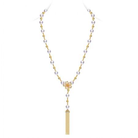 水年华中国风气质秋冬长款珍珠项链·白色