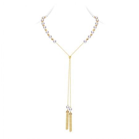 水年华秋冬中国风可调节长款珍珠项链·白色