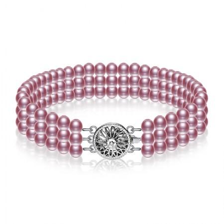 水年华经典三排紫色珍珠手链·紫色