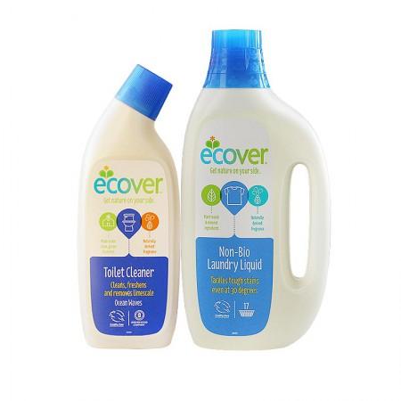 Ecover欧维洁 比利时原装进口生态环保浓缩洗衣液+清洁除味洁厕剂2250ml
