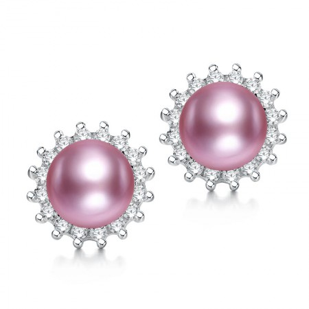 水年华S925银奢华闪耀紫色珍珠耳钉·紫色