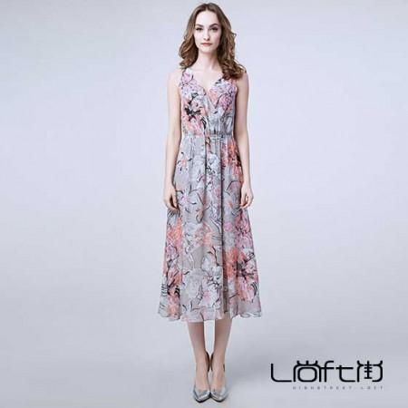 尚街 优雅无袖印花收腰真丝连衣裙·花色