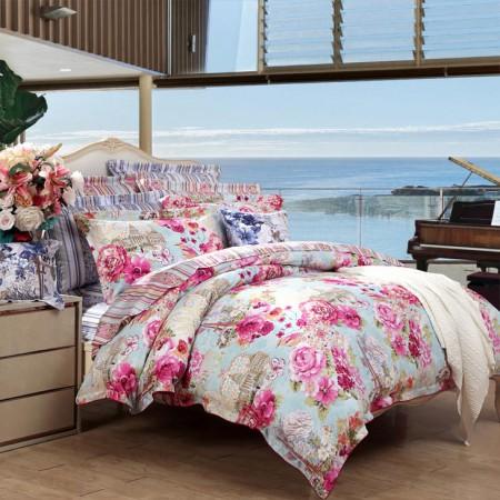【富安娜出品】圣之花 纯棉印花套件美丽人生·粉色