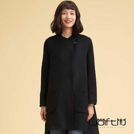 尚街 时尚立圆领羊毛呢大衣·黑色