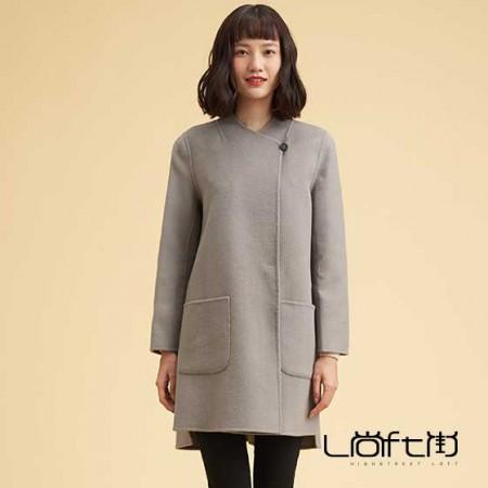 尚街 时尚立圆领羊毛呢大衣·灰色