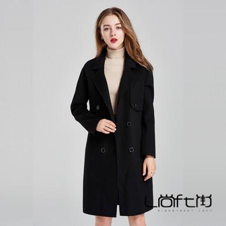 尚街 两用双面呢羊毛大衣·黑色