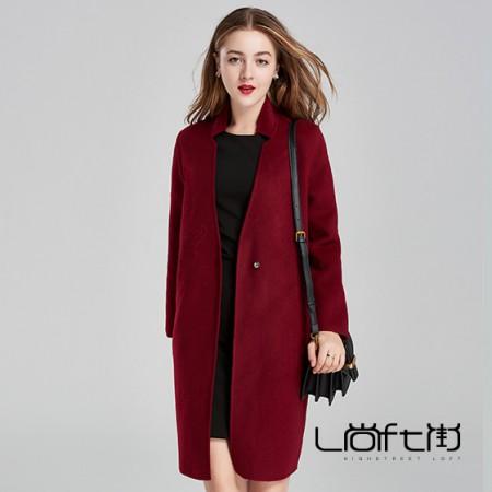 立领刺绣羊毛大衣·酒红