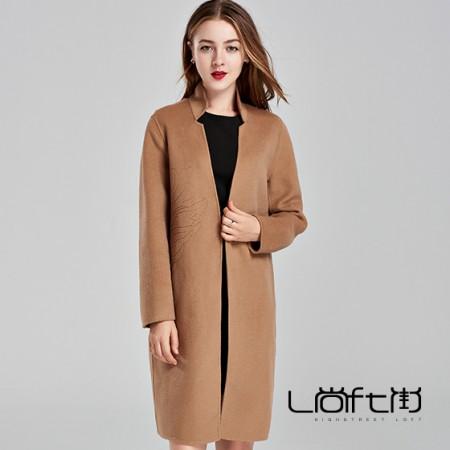 立领刺绣羊毛大衣·驼色