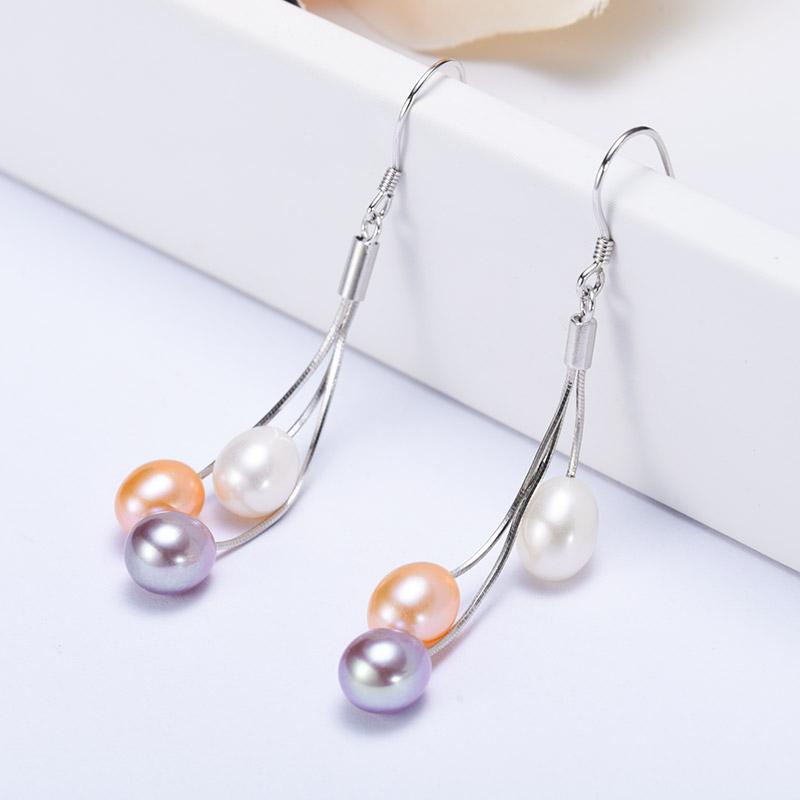 水年华梦幻彩长款珍珠耳环·白色、紫色、粉色