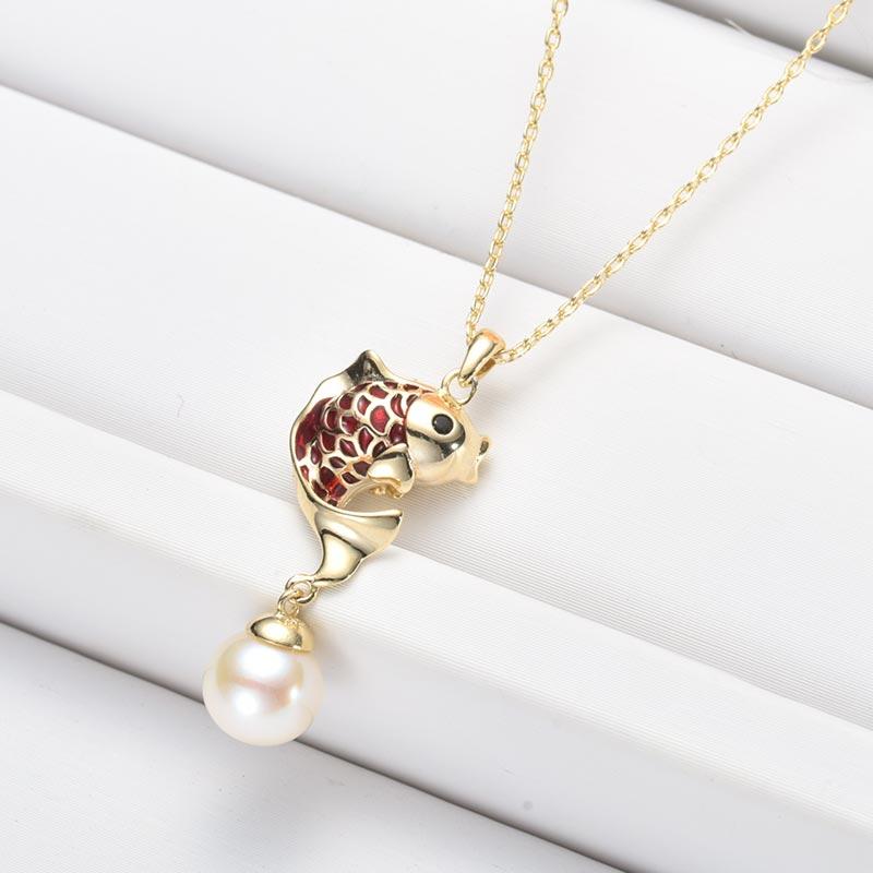 水年华年年有鱼经典正圆珍珠项链·白色