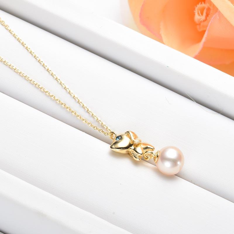 水年华狗年旺旺吉祥狗正圆珍珠项链·白色