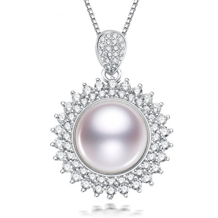 水年华S925银超大闪亮珍珠吊坠·白色