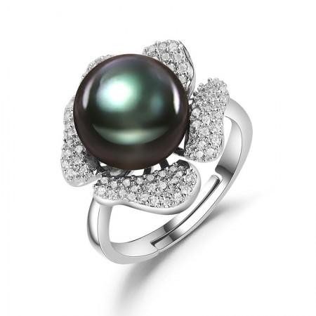 水年华S925银花形黑珍珠戒指·黑色