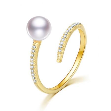 水年华气质款正圆珍珠戒指可调节·白色