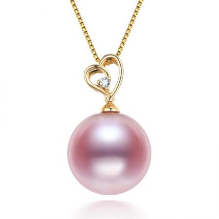 水年华14-15MM超大爱迪生紫色珍珠吊坠K金款·紫色