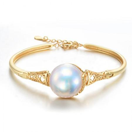 水年华高档马贝珍珠手镯S925银·白色