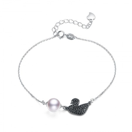 水年华黑天鹅正圆珍珠手链S925银·白色