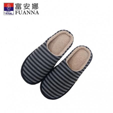 富安娜 家居鞋条纹宣言棉拖鞋·灰色