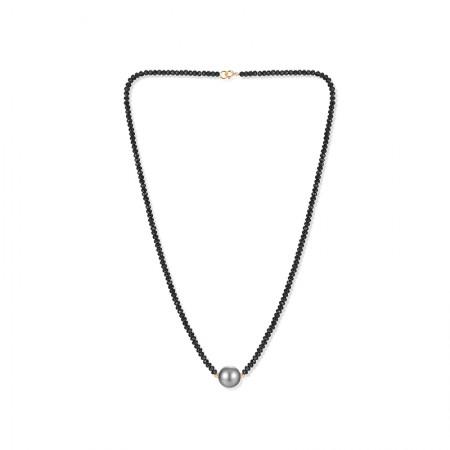 Vermeer 18K金大溪地海水珍珠黑晶石项链10-11mm·黑色
