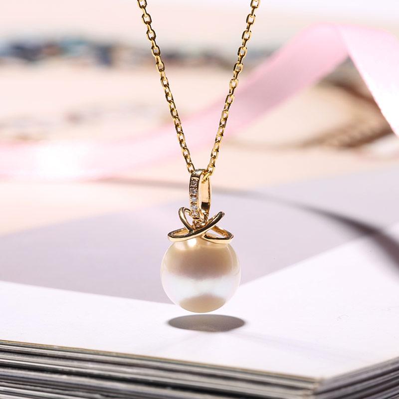 Vermeer 18K黄金AKOYA海水珍珠双圈吊坠9-9.5mm·白色