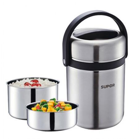 苏泊尔Supor 不锈钢保温桶高汤宝双层饭盒密封提锅1.9L保温饭盒KF19A1