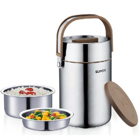 苏泊尔Supor 1.6L不锈钢真空保温桶三层大容量饭盒保温提锅 KF16F1