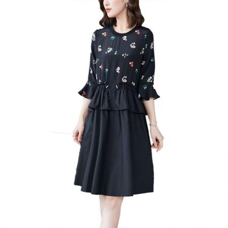 妖歌 时尚印花真丝抽绳拼棉布连衣裙18030·黑色